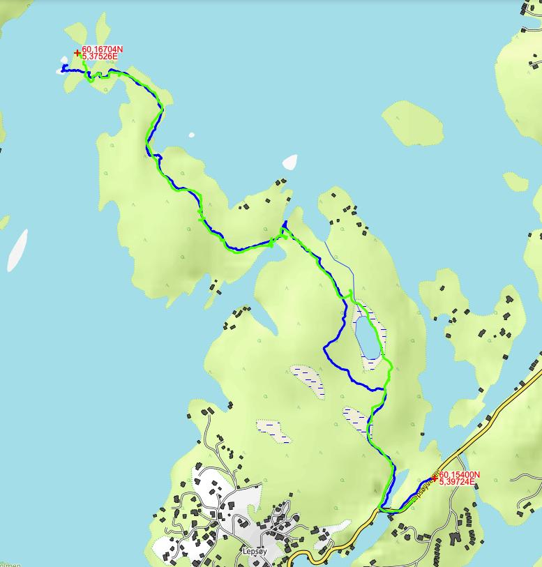 Kartbilde skispor tur og retur